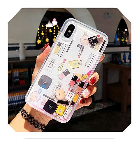 Cosméticos de arena movediza, funda para iPhone 11, 6S, 7, 8 Plus, botella de perfume de líquido dinámico duro para iPhone 11, XS Max XR X, teléfono Capa-rojo para iPhone 6 (S) Plus