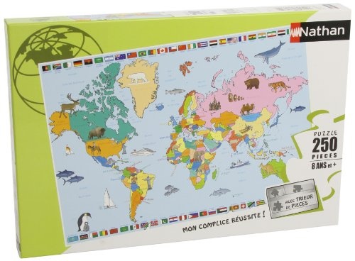 Nathan 86935- Puzzle Infantil Mapamundi (250 Piezas)