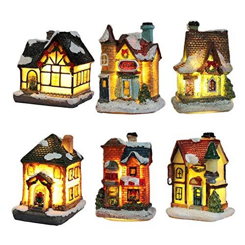 liuliu décoration de Noël résine Bastide églises et Accessoires LED
