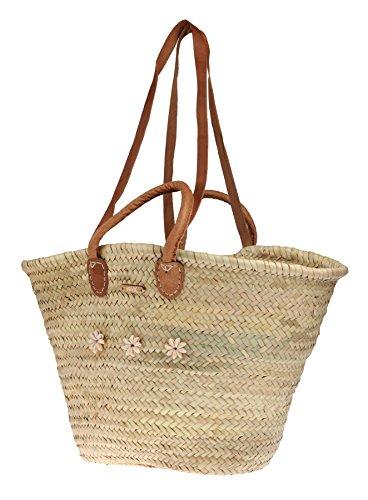 Felex Korbtasche Strandtasche Bast Ibiza groß I 56 x 15 x 32 cm (Natur Muschel)