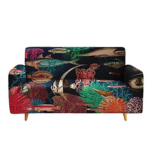 Hosima Modello di pesce sott'acqua Fodere copridivani 1 2 3 4 posti Universale Elasticizzata, Estate Retrò Stampa tre posti Fodere Copridivano con Elastico (3 posti (190-230 cm), LFZJY0689)