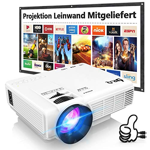 Beamer, DR.Q HI-04 Beamer mit Screen, 5000 Lumens Projektor, Mini Beamer Unterstützt 1080P Full HD, Native 720P HD Video Beamer Kompatibel mit TV Stick Smartphone HDMI TF USB, Heimkino Beamer, Weiß.