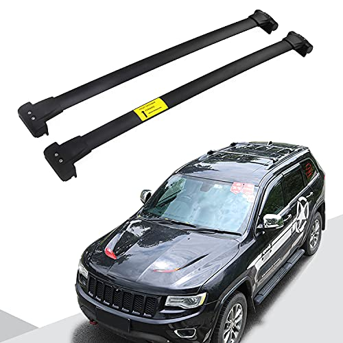 Snailfly Black Crossbars Fit for 2011-2021 Jeep Grand Cherokee Cross Bars Roof Rack Luggage Holder Aluminum Alloy with S-Steel Clamps