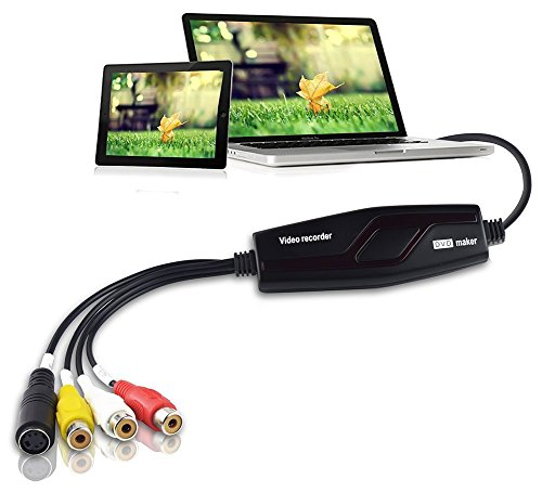 DIGITNOW! Video Grabber Überträgt Hi8 VHS auf Digital DVD für Windows 10 / Mac, Video Capture Karte mit Scart/AV Adapter