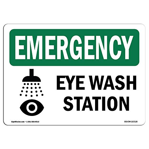 OSHA Emergency Sign - Eye Wash Station | Vinyl Label Decal | Protect Your Business, Construction Site, Warehouse & Shop Area | Made in The USA
