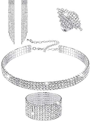Hicarer Women Rhinestone Stretch Bracelet Bangle Crystal Rhinestone Necklace Ring Dangle Fringe Earrings