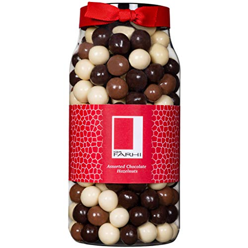 Photo of Rita Farhi Milk, Dark and White Chocolate Covered Hazelnuts in a Gift Jar – Nut Gifts, Chocolate Hazelnuts, Assorted Coated Hazelnuts, Food Gifts – 700 g