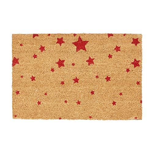 Relaxdays Fußmatte Kokos Motiv STERNE 40 x 60 Kokosmatte mit rutschfester PVC Unterlage Türmatte und Fußabtreter aus Kokosfaser als Schmutzfangmatte und Sauberlaufmatte oder Türvorleger, rot