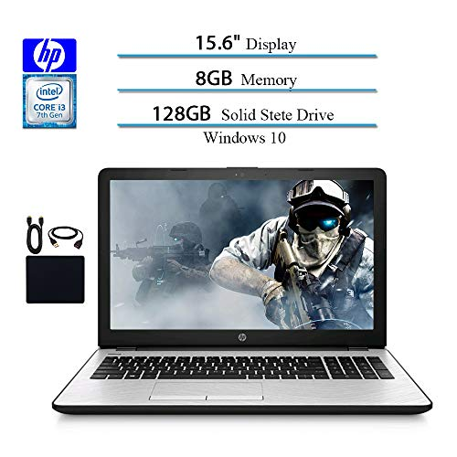 HP 15.6 Inches HD 2019 Laptops Computer Notebook, Intel i3-7100U 2.40GHz, 8GB RAM, 128GB SSD, WiFi, Bluetooth, Windows 10 W/ Accessories
