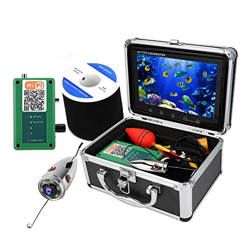 Tosuny Monitor LCD portátil de 10.1 Pulgadas Buscador de Peces HD 50M 1000TVL Cámara de Pesca, Cámara subacuática IP68 Cámara de Video WiFi de 164 pies(UE)