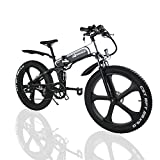W Wallke Folding Aluminum Electric Bike 48V 10.4ah Removable Battery Fat Tire Snow Mountain Bike 750W Beach Cruiser Adult Assisted E-Bike Double Disc Hydraulic Brake (26 INCH, 26'' ebike)