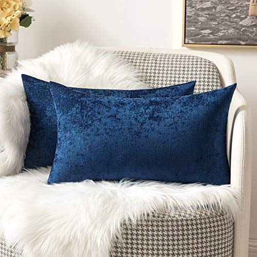 MIULEE Pack of Two Cushion Cover Chenille Throw Pillow Case Super Soft Rectangle Decorative Home for Sofa Living Room Bedroom Sofa 12 x 20 inch 30 x 50 cm Navy