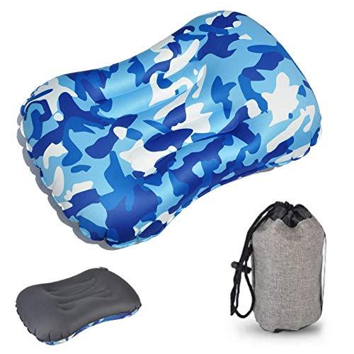 Fogari - Almohadas de viaje hinchables para camping, viaje, hinchables, soporte de cuello y tamaño, cómodo para camping, al aire libre en la playa, azul camuflaje