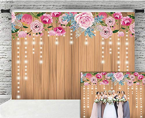 Fanghui 9x6FT Floral Rustic Wooden Wall Photography Backdrop Decoration Glitter Flower Wedding Bridal Shower Baby Newborn Background Birthday Party Banner Photo Booth Props