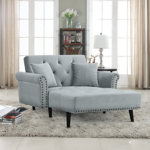Divano Roma Furniture Modern Velvet Fabric Recliner Sleeper Chaise Lounge - Futon Sleeper Single...