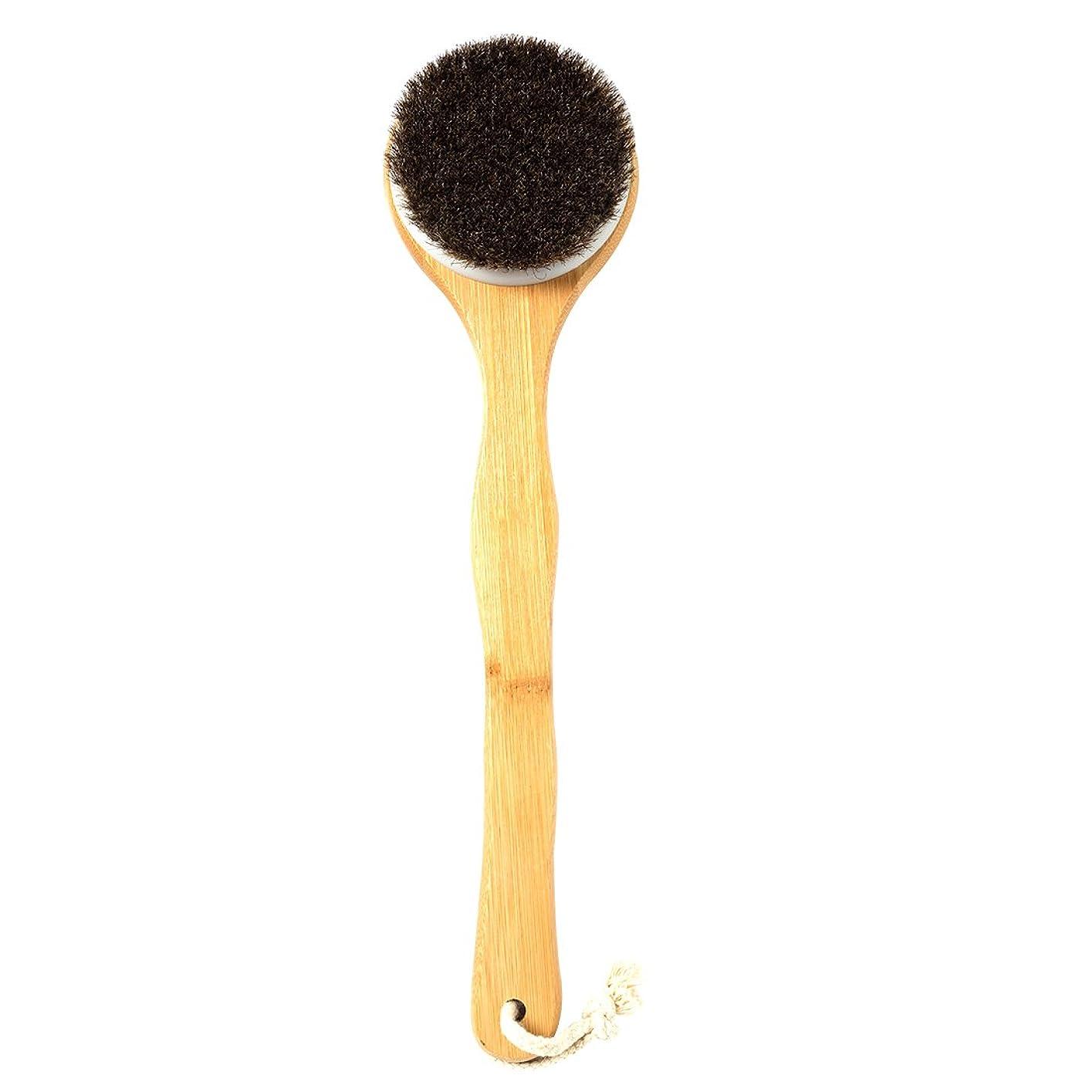 バットブレーキソケットUniSign 天然馬毛ボディブラシ お風呂用 血行促進 毛穴ケア/黒ずみ汚れ 竹製長柄 角質/皮脂 除去 低刺激 体洗う やわらか毛