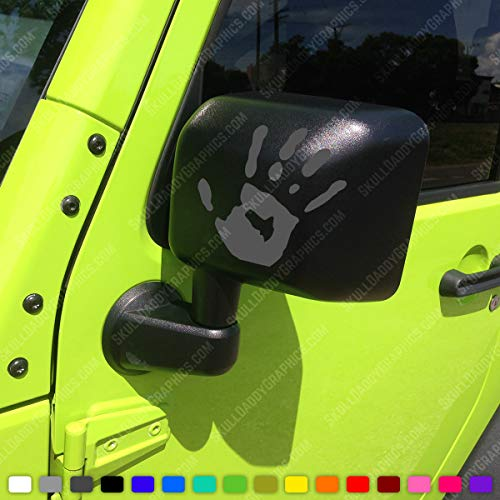 Two Wave Stickers Compatible with Jeep Wrangler JK TJ YJ CJ (x2) Decals Pair Left & Right (Reflective (Dark Grey))