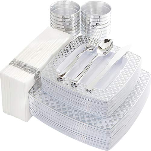 IOOOOO 175PCS Silver Plastic Square Plates with Disposable Silverware & Cups & Napkins, Silver Diamond Tableware 25 Dinner Plates, 25 Salad Plates, 25 Forks, Knives and Spoons, 25 Tumblers, 25 Towels