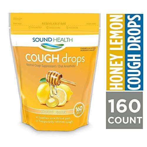 SoundHealth Honey Lemon Cough Drops, Lozenge, Cough Suppressant, 160Count Single...