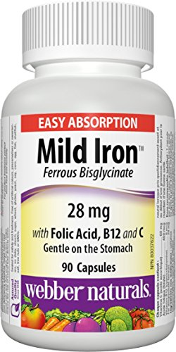 Webber Naturals Mild Iron, Easy Absorption (Ferrous Bisglycinate) 90-Count