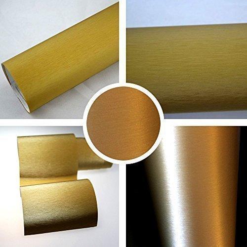 TipTopCarbon 6,57€/m² Alu gebürstet Autofolie Gold 2m x 1,52m Auto Folie BLASENFREI mit Luftkanälen 3D Flex