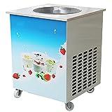 Vinmax Single Round Pan Fried Ice Cream Roll Machine, Commercial Fried Milk Yogurt Machine, Ice Cream Maker 110V