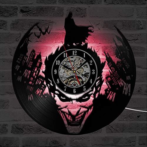 ddmxia Batman Joker Horloge Murale Design Moderne Horloges Disque Vinyle avec 7 LED Changement de Lumière Classique Suspendu Mur Montre Décor À La Maison Silencieux
