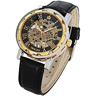 GuTe Steampunk Men's Analogue Skeleton Hand Wind Mechanical Watch Roman Numeral Black Leather Strap Luminous Hands Golden Case