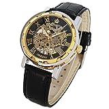 GuTe, orologio da polso analogico, da uomo, analogico, in stile Steampunk, con numeri romani, cinturino in pelle nera, quadrante luminoso, cassa dorata