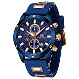 Men's Watches, MINI FOCUS Waterproof Sports Watches for Men, Men's Wrist Watches with Silicone Strap Relojes De Hombre(Blue)