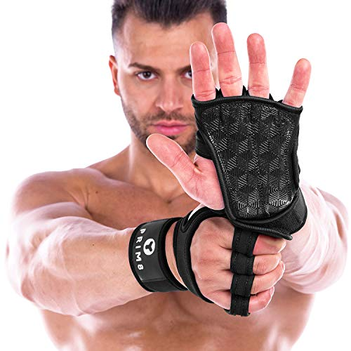 PRIM8 Weightlifting Gloves with Wrist Support for Gym Workouts, Pull Ups, Cross Training, Weightlifting, Calisthenics, WOD, Exercise - Silicone Padding - Great Hand Grip & No Calluses -Men & Women