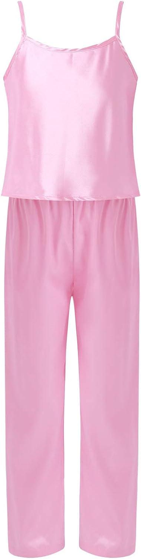Freebily Youth Teens Girls Satin Pajamas Set Nightwear Adjustable Shoulder Straps Vest Top Shirt Pants Pajama Loungewear Pink 16