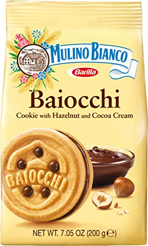 Barilla Mulino Bianco Baiocchi Biscuit Cookie with Hazelnut Chocolate Spread , 200g