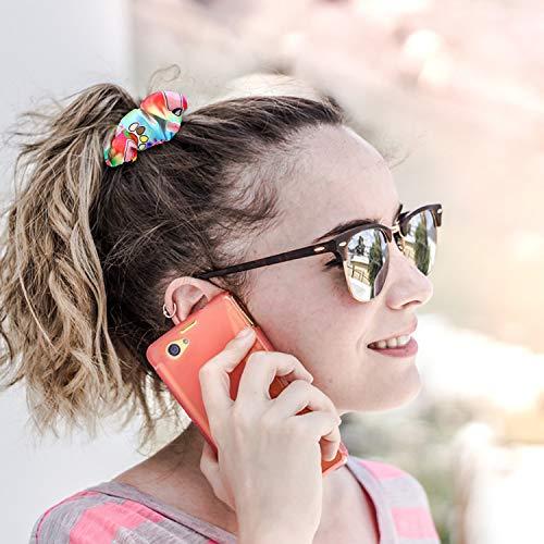 PANTIDE 6Pcs VSCO Hair Scrunchies VSCO Starter Stuff VSCO Designed Pattern Hair Scrunchies, Colorful Polyester Pongee Ponytail Holder, Elastic Hair Ties Ropes Hair Accessories for Women Girls 5