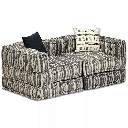 Festnight 2-Sitzer Modulares Schlafsofa Stoff Schlafcouch Gestreift Sofa Stoffsofa 140 x 70 x 56 cm für Wohnzimmer oder Schlafzimmer