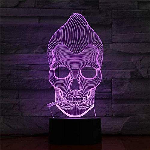 YOUPING 3D Illusion Led Night Light Personalized Lamp Head Gift Colorful for Teenagers with a Bright Base Battery Power