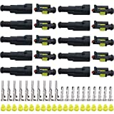 YETOR 1Pin Waterproof Connector, 10 Kit Auto Electrical Connectors Series Terminals Water Resistend for Car, Truck, Boat (1Pin Connector)