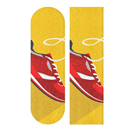 YUXB Longboard Griptape Zapatos con Estilo Running Skateboard Grip Tape Sheets, Papel de Lija para Rollerboard Antideslizante 33.1'x 9.1' Pulgadas