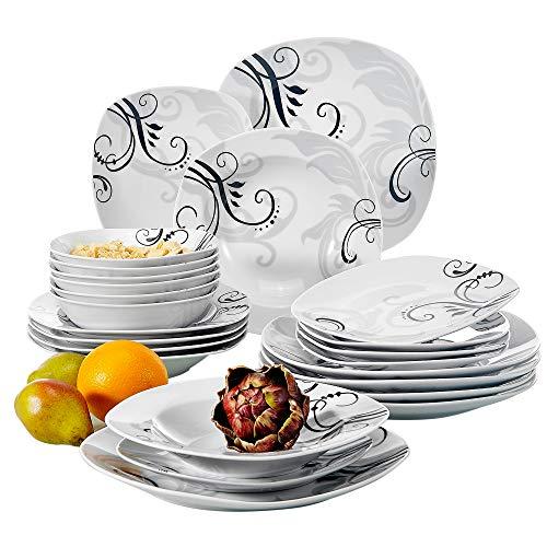 VEWEET Tafelservice 'Zoey' aus Porzellan 24 teilig   Geschirrset beinhaLtet Müslischalen, Dessertteller, Speiseteller und Suppenteller  Geschirrservice für 6 Personen …