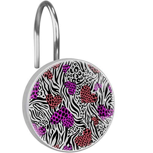 Color Hearts Over Zebra Leo Print 12 stücke Duschvorhangringe Duschvorhang Haken Gardinen Haken Decor für Badezimmer Zimmer Schlafzimmer Wohnzimmer