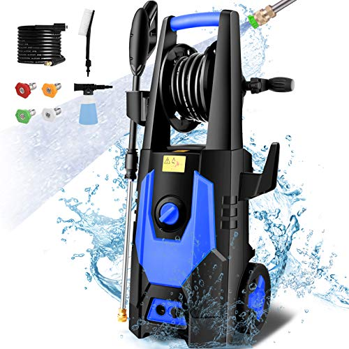 mrliance 3600PSI Electric Pressure Washer 2.4GPM Power Washer 1800W High Pressure Washer Cleaner Machine with 4 Interchangeable Nozzle & Hose Reel, Best for Cleaning Patio, Garden,Yard,Vehicle(Blue)