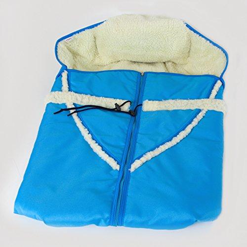 Wuschelweicher Winter Fußsack HolzFee Alaska Blau für Schlitten Kinderwagen Baby Schlittensack Lammwolle