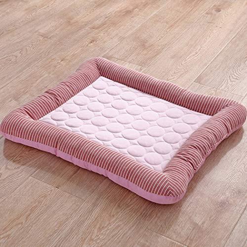 Zomer Pet Mat, Cold Feel Ground Pad Kleine en Middelgrote Ice Silk Kennel Cat Nest Tapijt, Koeling Supplies, geschikt voor 2 tot 15 Kg Animal,Pink,76x58cm
