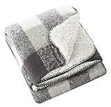 SARO LIFESTYLE Sevan Collection Faux Mohair Design Sherpa Throw Blanket, 50' x 60', Grey