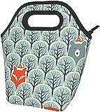 Animali Nella Foresta Stampato Il Pranzo Isolato Box Ampio Pranzo Tote Pranzo Tote Bag - Leggero, Isolato E Riutilizzabili