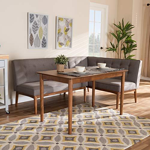 Baxton Studio Arvid Mid-Century Modern Gray Fabric Upholstered 3-Piece Wood Dining Nook Set