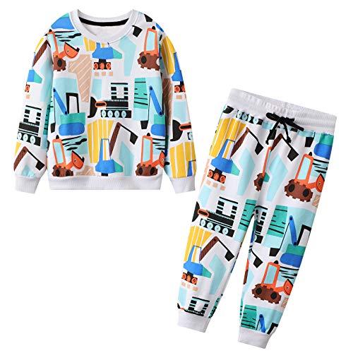 JinBei Trainingsanzug Set für Kinder Jungen Bagger Drucken Jogginganzug Pullover und Hosen Anzug Baumwolle Junge Sportanzug Herbst Winter Alter Blau Rot 2 3 4 5 6 7 Jahre
