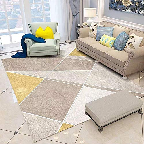 Bedroom Rugs For Adults Grey geometric yellow white triangle pattern office balcony carpet durable Super Soft Rug Patio Rug grey 80X200CM