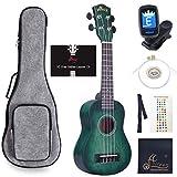 WINZZ 21 Inches Soprano Ukulele Vintage Hawaiian Uke with Online Lessons, Bag, Tuner, Strap, Extra Strings, Fingerboard Sticker, Dark Hunter Green