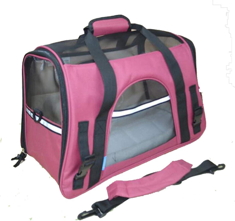 Pet Travel Bag The Dog's Bed Portable Folding Bag Travel Carrier Dog Cat Puppy Lamb Velvet Pad Pink (Size   37  19  25CM)
